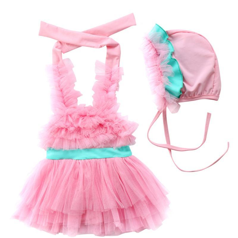 2Pcs Toddler Kids Baby Girl Halter Lace Floral Swimming Dress Swimming Hats Swimwear Swimsuit Beachwear Bather Suit