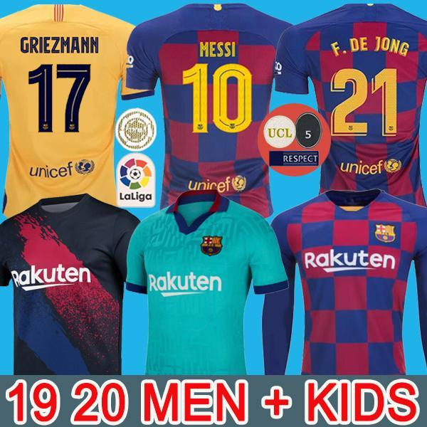 FC BARCELONA كرة القدم جيرسي 19 20 camisetas دي فوتبول أنسو FATI عدة 2019 2020 ميسي GRIEZMANN DE JONG Maillots دي لكرة القدم قميص الرجال الاطفال