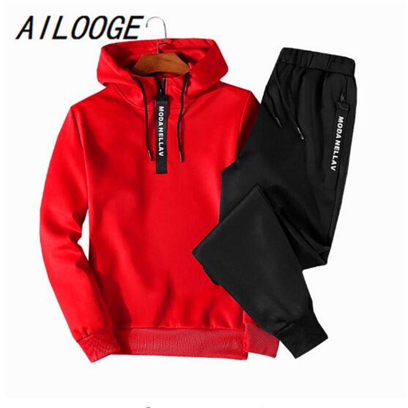 الرجال رياضية ilooge ربيع الخريف الرجال رياضية اثنين قطعة مجموعات البلوز هوديس + السراويل الرياضية البدلة الذكور زائد الحجم M-5XL