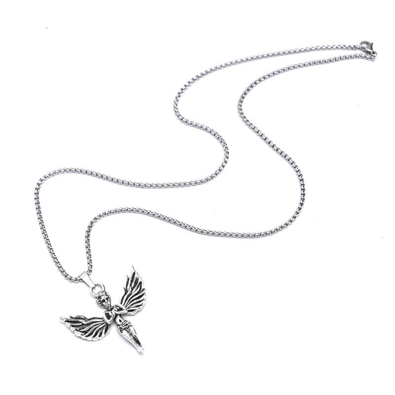 Catena Angel Wings collana uomini le donne retrò monili dell'acciaio inossidabile lunga dell'annata della collana di angelo ciondolo personalizzato Hip Hop