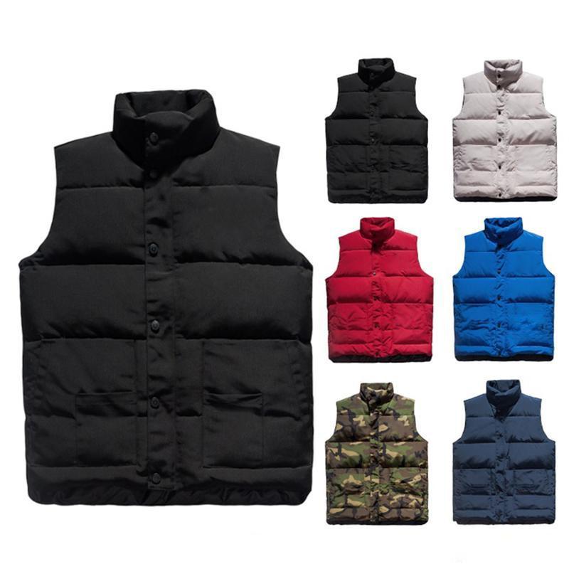 Mens Down Jacket Hip Hop dos homens de alta qualidade Cores sólidas Vest Homens sem mangas das mulheres Revestimento do inverno Tamanho S-2XL