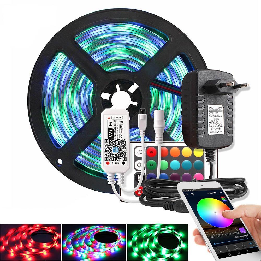 음악 / 블루투스 / 무선 RGB LED 스트립 빛 2835 DC 12V 방수 5M (60 개)의 LED / m 리본 주도 다이오드 테이프 컨트롤러 전원 어댑터