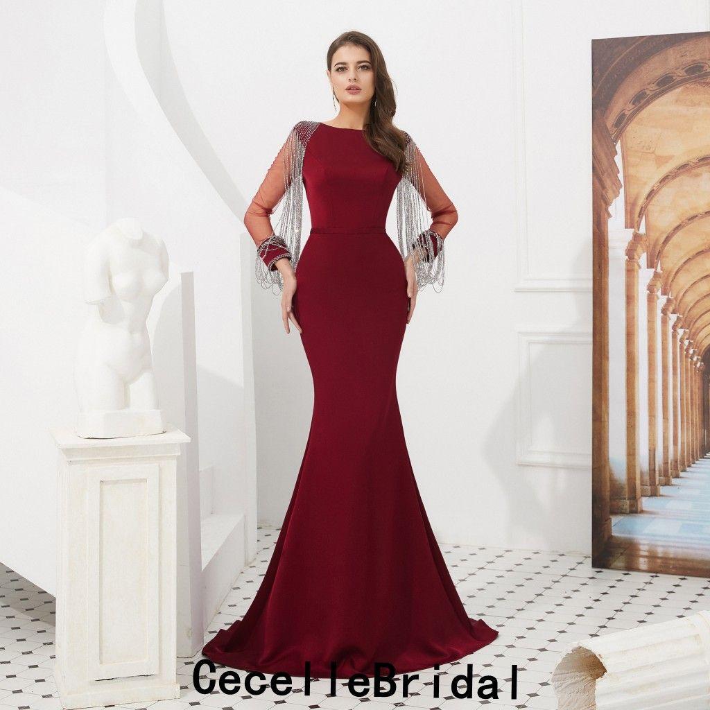 Compre 2019 Nuevos Vestidos De Noche De Sirena Larga De Color Rojo Oscuro Con Mangas Largas Y Abalorios De Las Mujeres Vestidos Elegantes Para