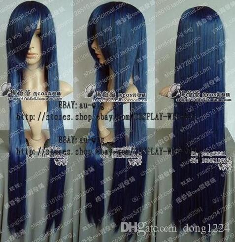Envío Gratis nueva largo azul oscuro Cosplay peluca del partido 80 cm pelucas de pelo