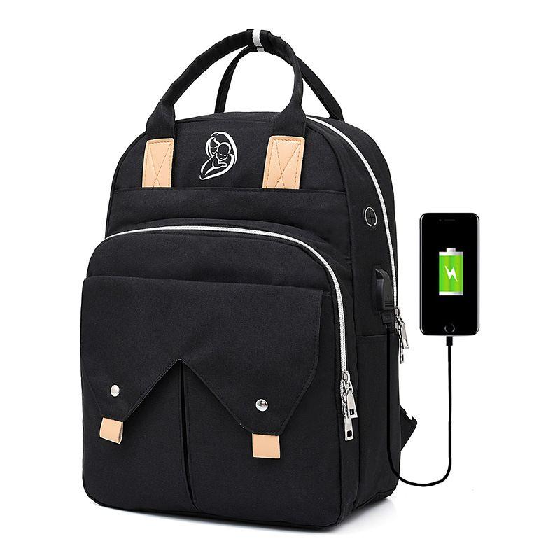 Bolso de la momia de carga USB Botella auriculares bolsa de pañales mochila de viaje de gran capacidad del pañal impermeable de múltiples funciones