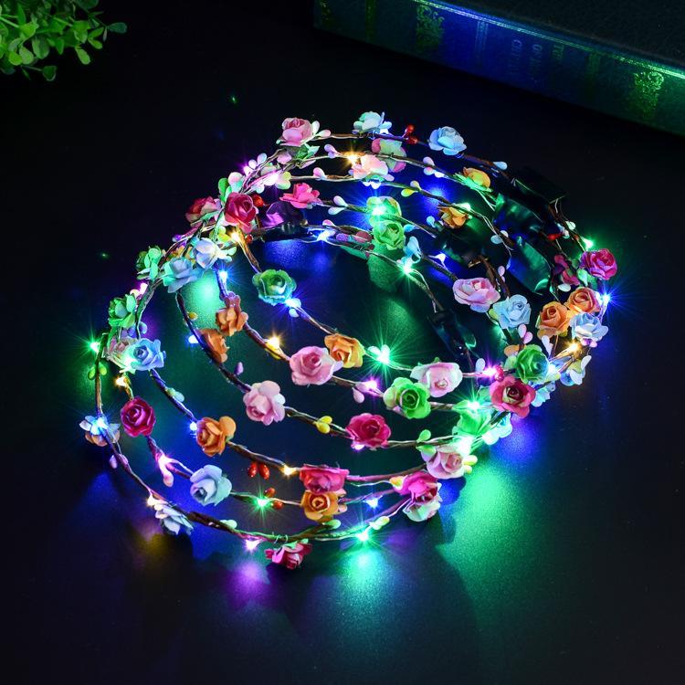 وامض LED العصابة الإضاءة اكاليل سلاسل حزب ضوء الوهج زهرة الهذيان الزهور الشعر إكليل مضيئة اكسسوارات الشعر اكليلا من الزهور