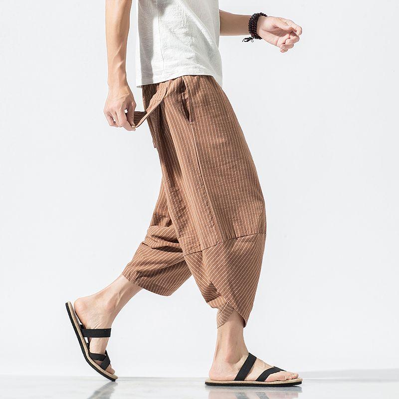 Autunno Harajuku degli uomini di Hip Hop Harem estate 2019 dei pantaloni pantaloni casual da uomo maschio banda polpaccio stile cinese 5XL