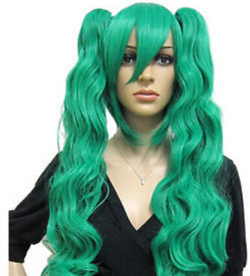 Peruca frete grátis Moda VOCALOID-Hatsune Miku verde Cosplay 80 cm Longo Ondulado Peruca