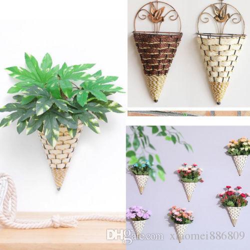 원뿔 고리 버들 세공 벽 장식 장식 꽃 바구니 (녹색 식물 제외)