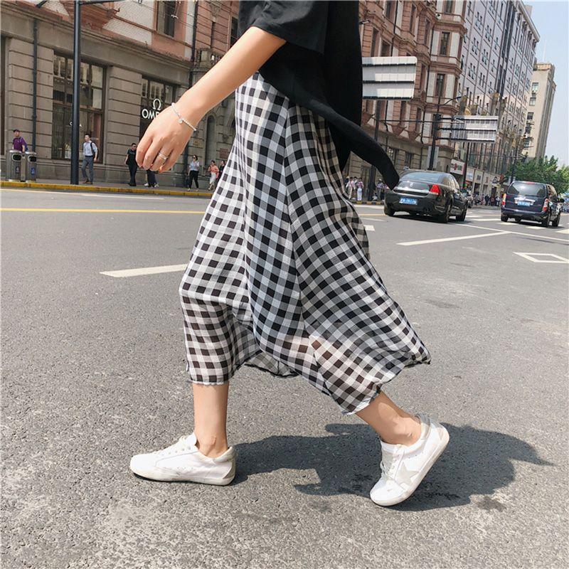 Skirts Korean Summer Women Skirt Plaid Print Long Streetwear Pink Black Chiffon Beach A-line Party High Waist Boho Skater