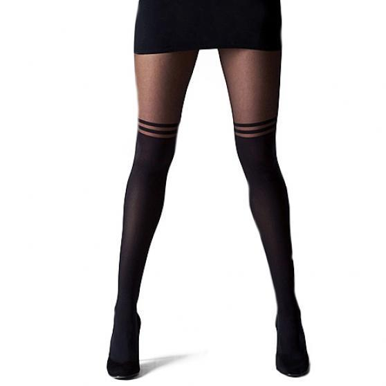 Sexy Femmes Filles Collant Double Striped Mock Chaussettes genou Sheer Pantyhose Fancy Stocking