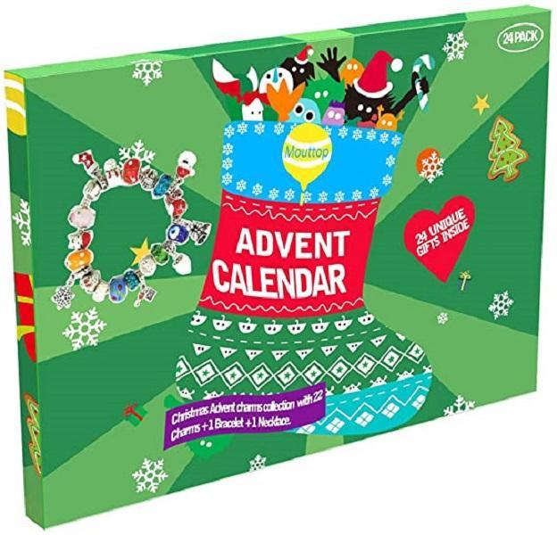 Adventskalender, 24 Tage Christams Adventskalender mit DIY-Charme Mode Schmuck 22 Anhänger mit 1 Armband und 1 Halskette