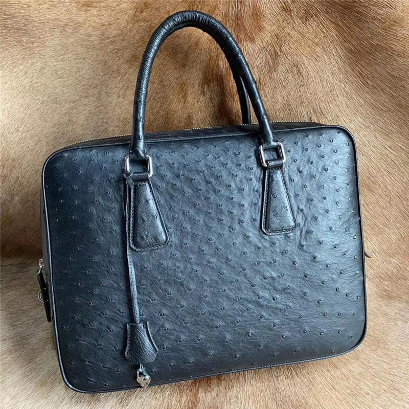 أصيلة النعامة الجلد مفتاح قفل إغلاق رجال الأعمال حقيبة كبيرة محمول المحفظة حقيبة جلدية حقيقية غريبة ذكر حقيبة العمل