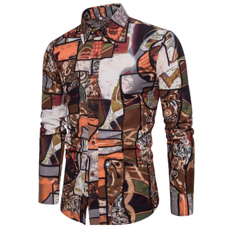 Camisas Casuales para hombres Ropa Moda Masculina Camisa Vestido de lino Slim Fit Turn-Down Hombres Impresión de manga larga Mens Hawaiian Big Tamaños