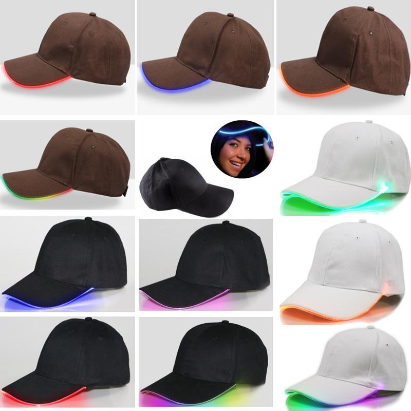 Бейсбольная кепка со светодиодной подсветкой, хип-хоп, гольф, танцевальная шляпа, световодные световые шариковые шапки, регулируемые шляпы Xmas Party JJ19854