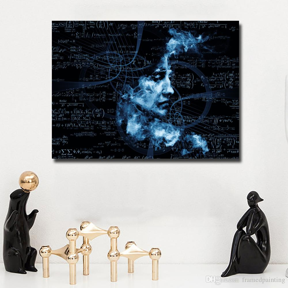 1 Pcs Abstract Painting Blue Women Math Portrait Oil Painting Wall Pictures For Living Room Home Decor Canvas Art No Frame