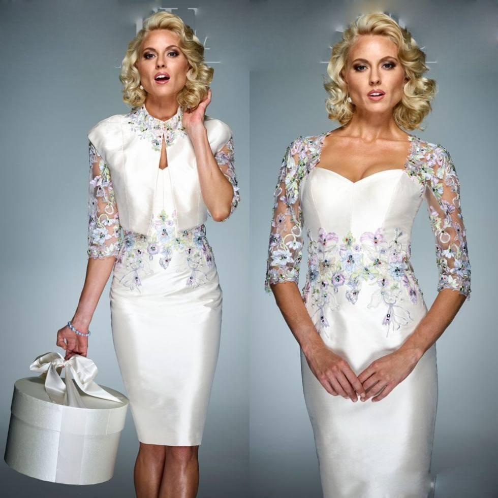 2020 Bainha Mãe Vestidos com filme Lace Appliqued frisada Tamanho do Joelho Formal Evening vestidos de casamento Custom Made Vestidos de Clientes