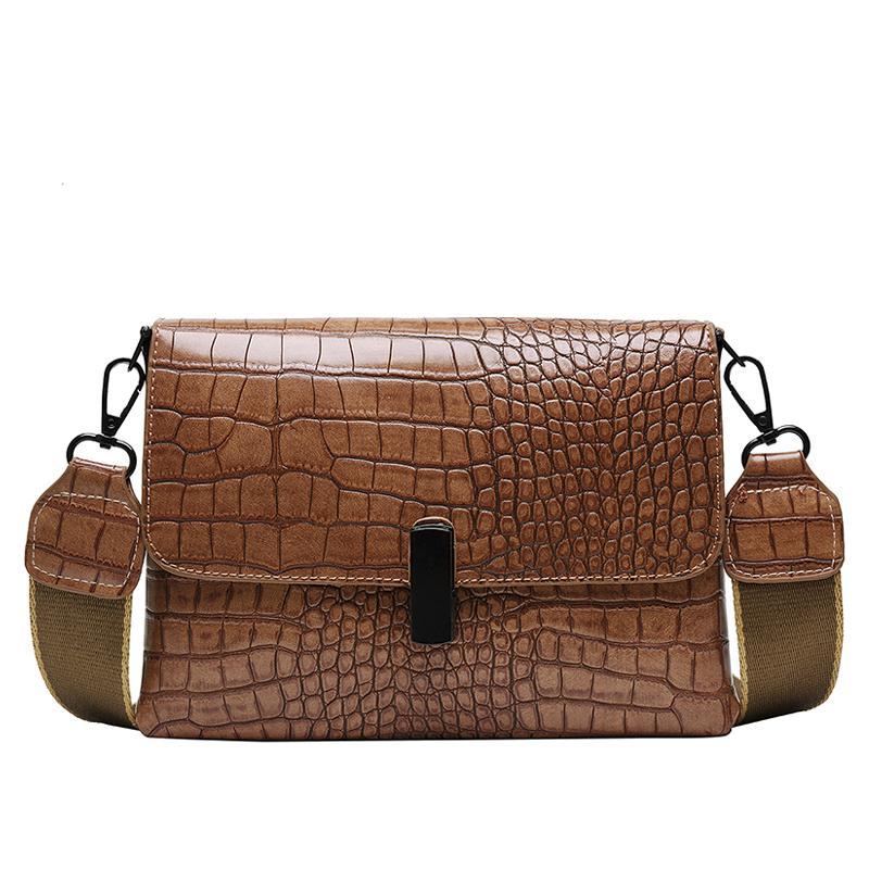 Женские сумки Аллигатор закрылков Кожа PU женские сумки на ремне Дамы 2020 Сумка Crossbody сумки