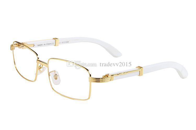 2019 moda para hombre gafas de sol de diseño naturaleza búfalo blanco gafas sin montura patas de madera Lunettes de soleil pour femmes Sonnenbrille