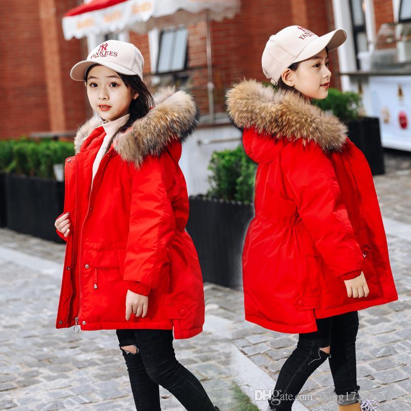 Оптовая с длинными рукавами девочек мода утолщение большая детская куртка вниз