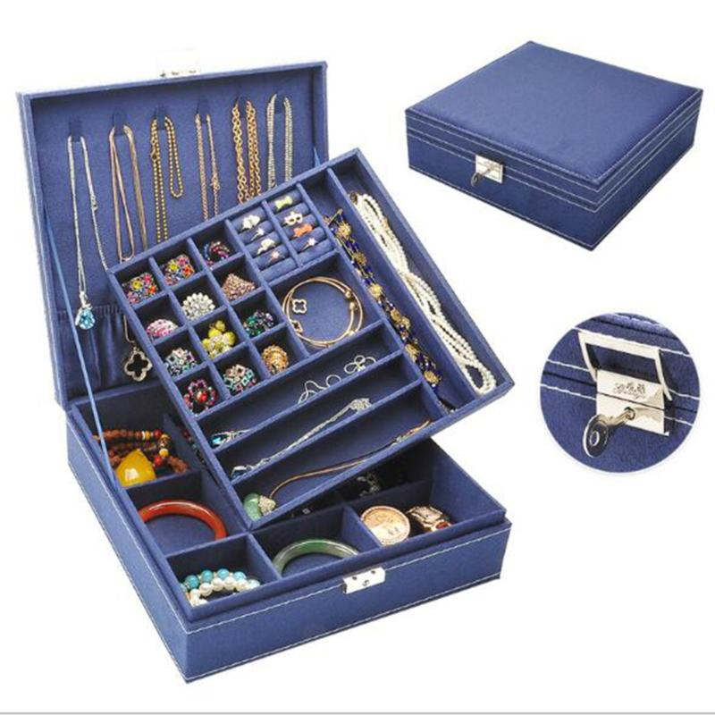 Mode Flanelle Locked place Boîte à bijoux Simple 2 couches cosmétiques sac de rangement Collier Anneau Boîte de rangement