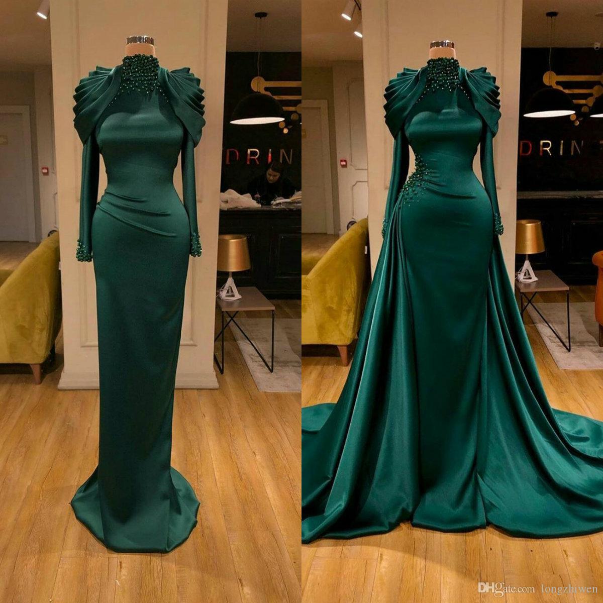 2020 elegantes vestidos de noche de sirena con tren desmontable mangas de cuello alto de cuello de cuello de cuello de cuentas vestido de fiesta formal roto hecho a medida vestido de fiesta