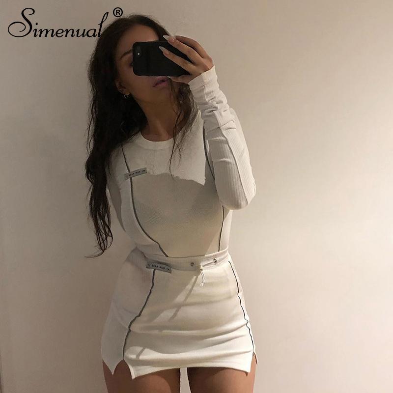 Simenual Moda Casual Reflective listrado Two Piece Outfits Mulheres Top manga comprida e uma mini saia Define 2019 Autumn Branco Set New Y200110