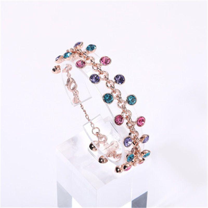 День корейской Нежный Красочные горный хрусталь браслет для женщин Party повседневной жизни Bangle Lover Валентина Подарки Ювелирные изделия