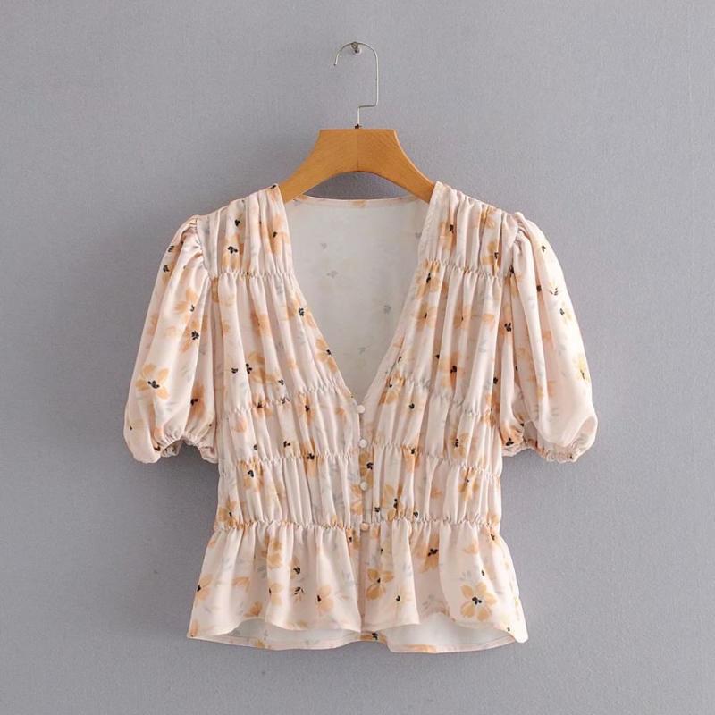 New Mode féminine v les plis du cou imprimé floral occasionnels Chemises sarrau minces blouses femmes lanterne Roupas manches de hauts LS6418
