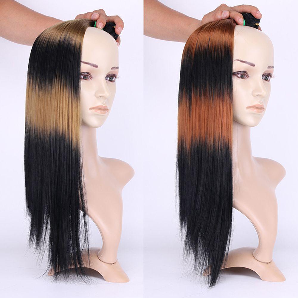 أومبير حريري مستقيم الشعر 1B / 27 1B / 30 ارتفاع درجة الحرارة الألياف الاصطناعية الشعر حزم Restyleable لأسود / أبيض المرأة تأثيري