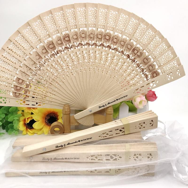 50PCS Personalized Sandal Wood with Sunflower Pattern Wedding Fan Custom Printing Hand-made Foldable Wooden Fan In Yarn Bag FREE SHIPPING