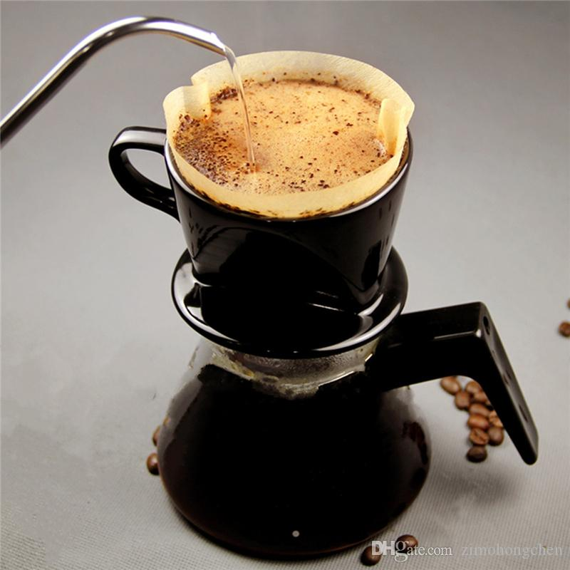 50pcs / Set 24cm blanco Filtros de café sola porción de papel de filtro de café de la máquina torta de la taza de café de papel de filtro tazones de papel