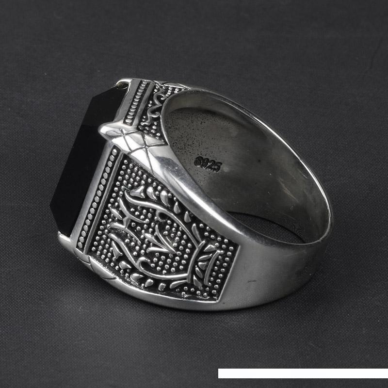 Урожай кольцо Мужчины Real Pure 925 стерлингового серебра ювелирные изделия черного обсидиана природного камня Кольца для Mens Punk Rock Fashion