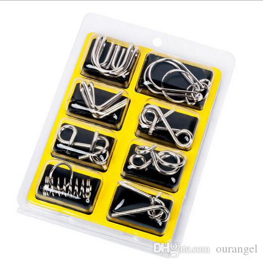 8PCS/Set Metal Wire Puzzle IQ Mind Brain Teaser Kids Puzzles Game Toys for Children Adults (3 Styles)