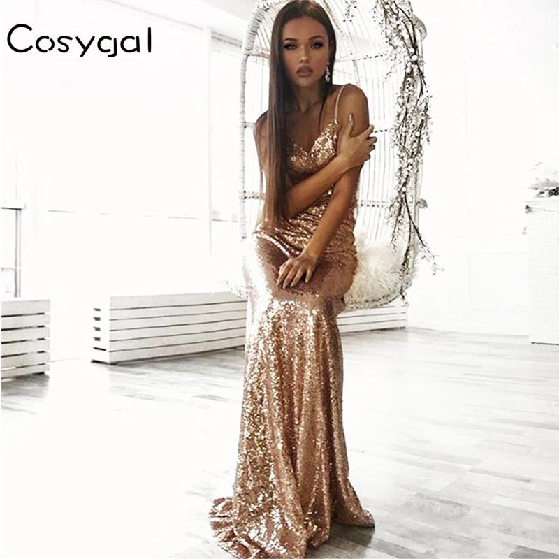 Cosygal Floor Length Maxi Dress Women Evening Party Sequined Dress Sexy Mesh Long Dress Sleeveless Gold Dresses Vestidos Y19073101