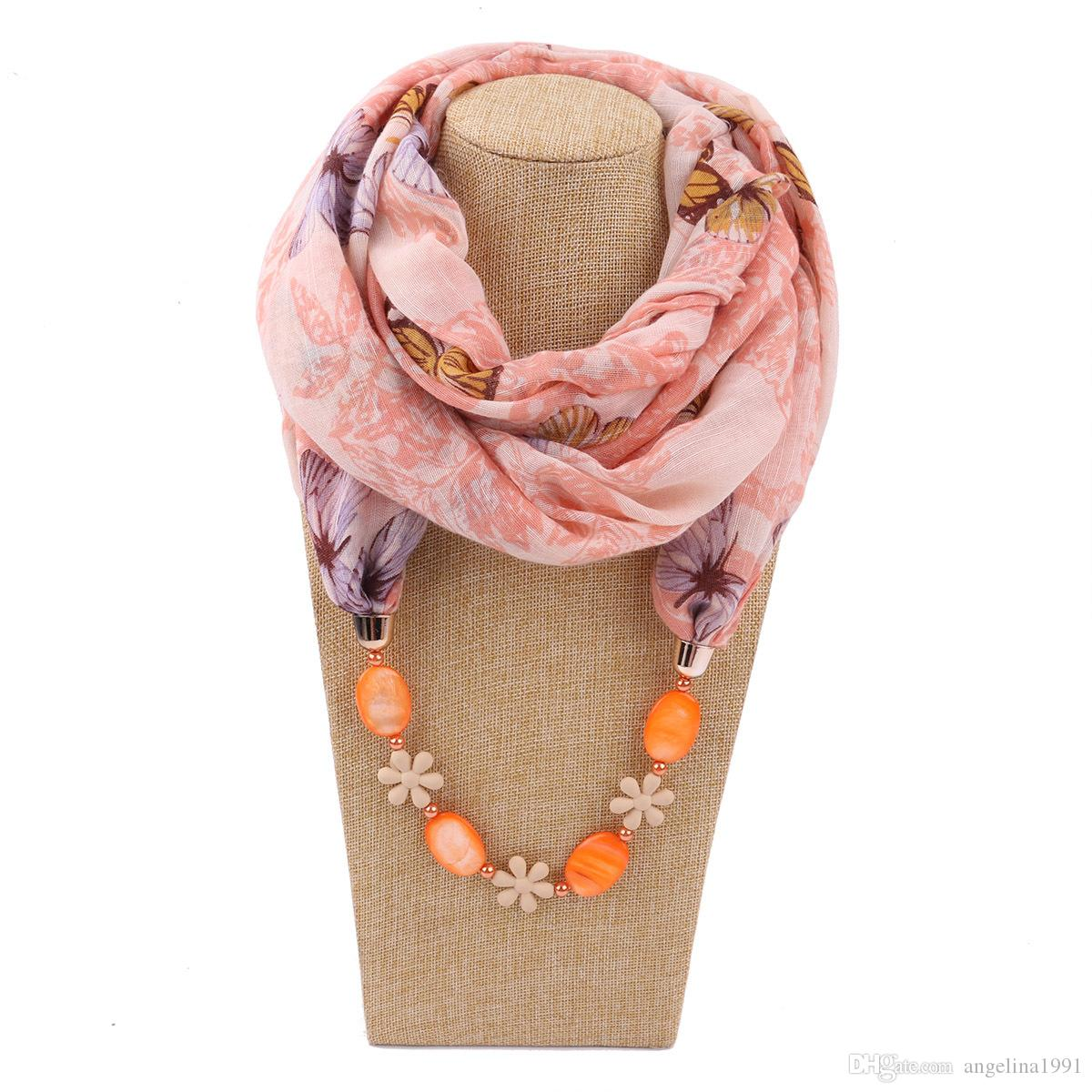 Women Ethnic Beaded Pendant Scarf Artificial Tassels Necklace Collar Floral Printed Bohemian Chiffon Infinity Circle Loop Shawl scarves