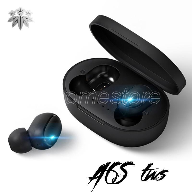 A6S TWS بلوتوث اللاسلكية الرياضة الموسيقى سماعة أسود سماعة سماعات الرأس مع حالة شحن إلغاء الضوضاء سماعات الأذن لسامسونج سوني