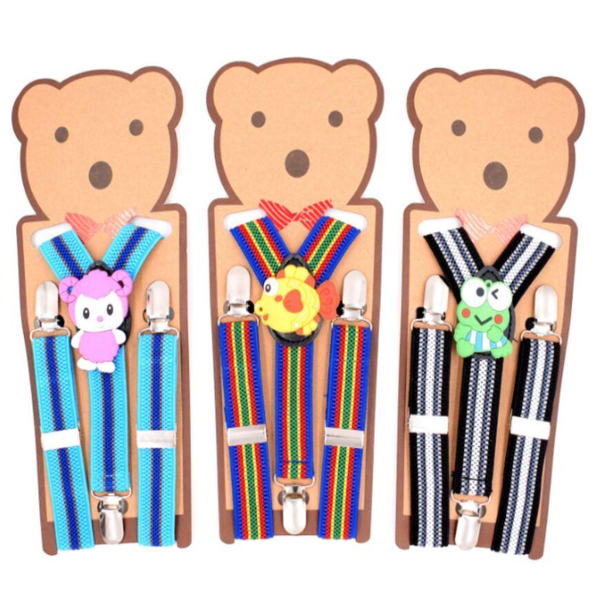 Cartoon Kid Suspenders Children strap Elastic Y-back mix colors for baby Clip-on students party Christmas gift Free TNT Fedex