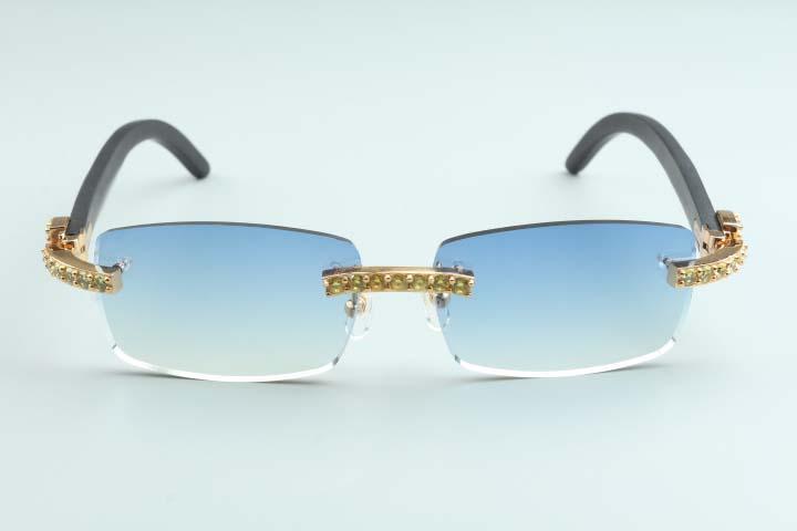 Heißer Verkauf High-End-gelb XL Diamanten Sonnenbrille schwarz Naturholz Tempel B-3524012-b für Unisex, Größe: 56-18-135mm