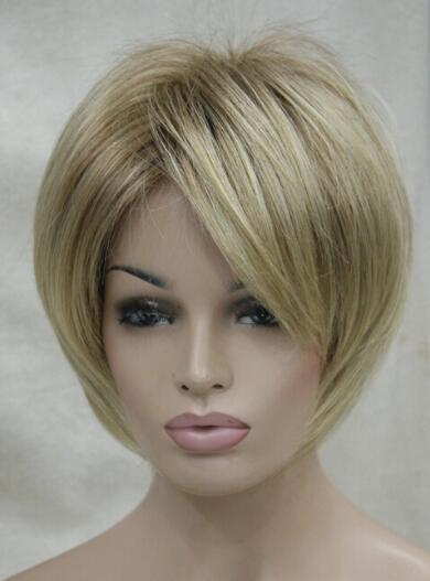 ÜCRETSIZ KARGO + + Kahverengi kök kadın 'kısa düz peruk ile Yeni büyüleyici sarışın mix