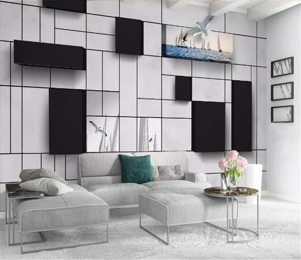Papier Peint Entree Moderne acheter photo personnalisé 3d papier peint 3d moderne cube mur de briques  mer voilierindoor tv fond décoration murale murale papier peint de 9,21 €  du