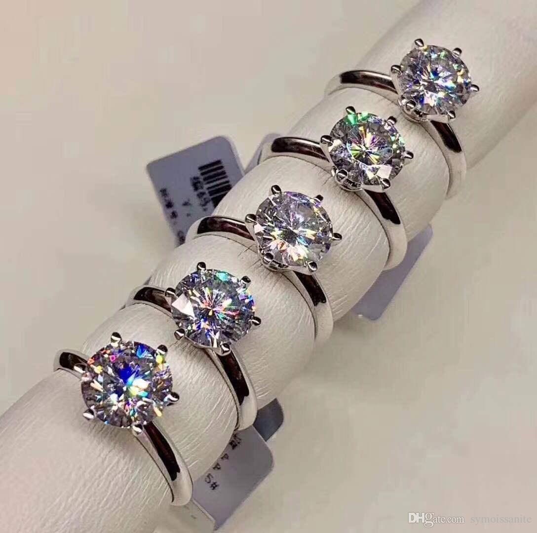 925 المويسانتي معتمد خاتم الماس اختبار كانون كلاسيك 6 المخلب ولي تصميم D / F اللون VVS ضوح 3EX الخالدة قص تلميع