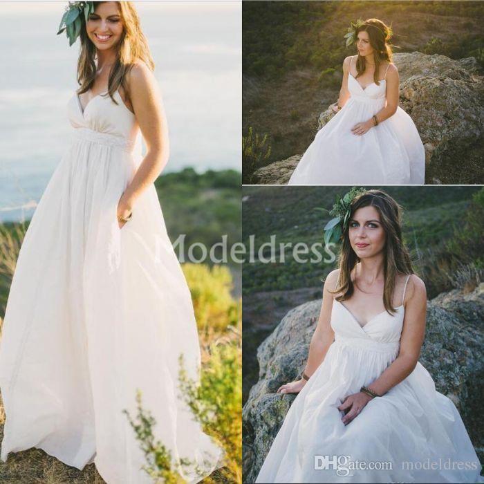 Bohemian Country Style White Wedding Dresses Spaghetti V-Neck A-Line Soft Chiffon Sweep Train Sleeveless Beach Bridal Gowns robe de mariée