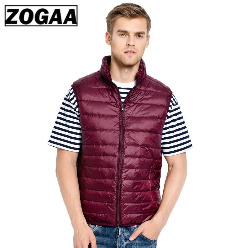 2020 Nueva mangas de los hombres chaqueta de invierno ultraligero Pato blanco abajo concede la ropa masculina chaleco delgado de los hombres a prueba de viento Calentamiento Chaleco