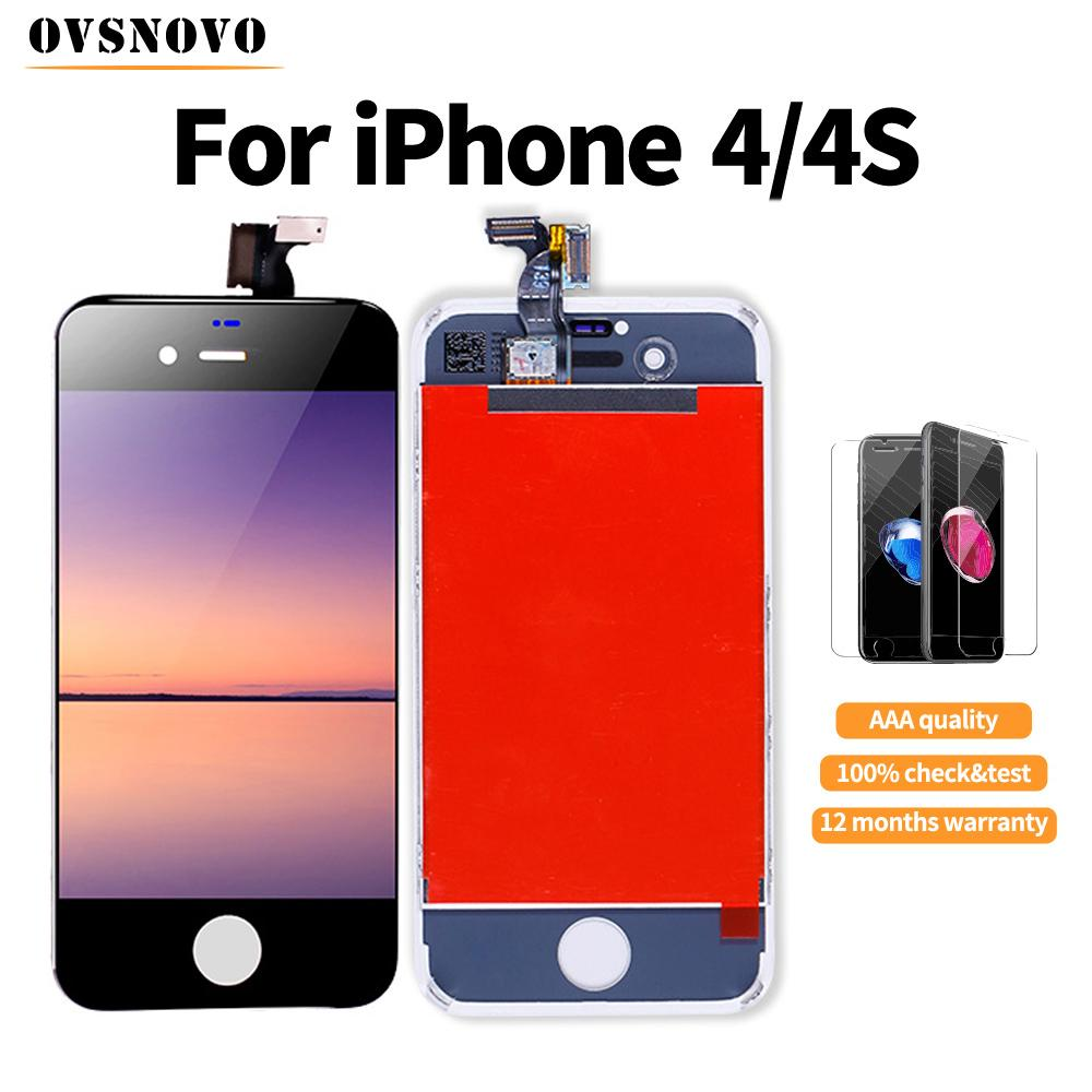 5pcs Quality Display for iPhone 4s LCD Touch Screen Replacement Digitizer Assembly+Glass protector Black/White Free shipping