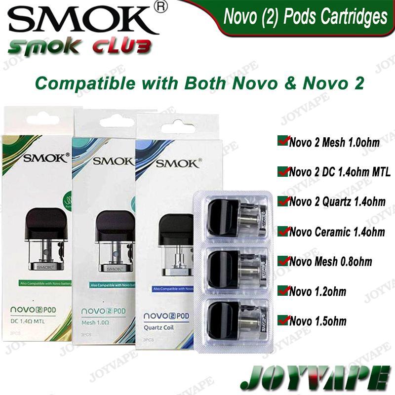 2ml SMOK NOVO 2 NOVO Pods cartucce con DC / Ceramica / Quartz1.4ohm Mesh 1,0 0.8ohm Per SMOK Novo 2 Kit