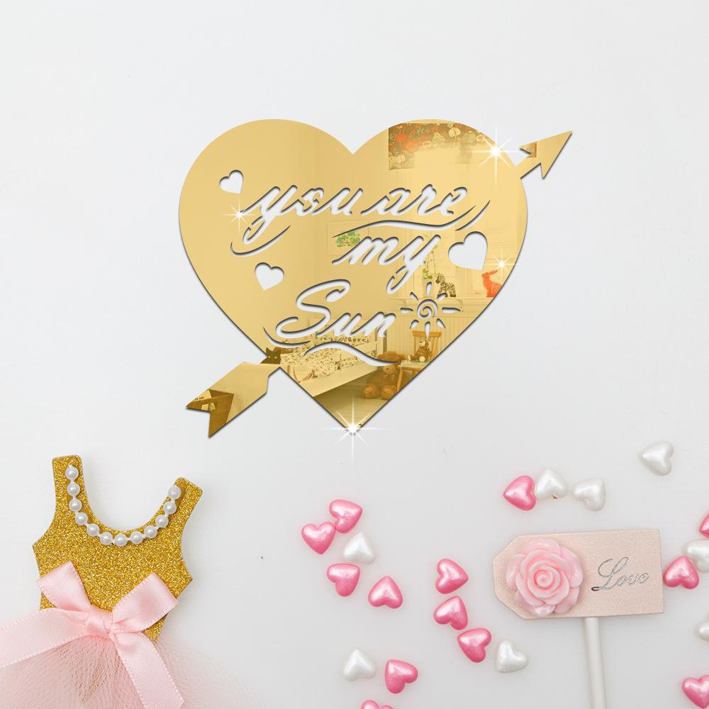 gold mirror wall decor.htm 2020 new modern style home decor 3d removable love heart mirror  modern style home decor 3d removable