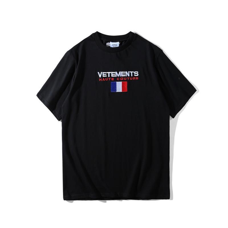 Beste Version 2018 Vetements Frankreich Flagge Stickerei Frauen Männer-T-Shirts T-Shirt Hiphop Marke Street Men Cotton Vetements T-Shirt T200327