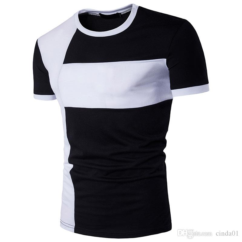 Tee Shirts Homme Large Size Joint Personality Slim Fit Round Collar Cotton Quick Dry Three Color Casual Shirts Men