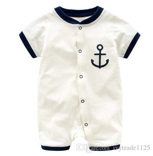 Baby Infant Boy Designer Clothes Romper Boy Stripped Gentleman Design Short Sleeve Romper baby Climbing 100% cotton summer clothes